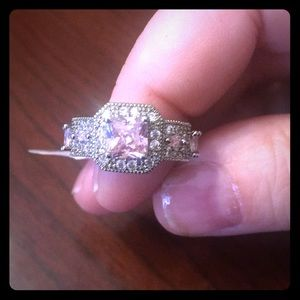 Nwt Princess Cut Pink simulated Topaz Antique Look